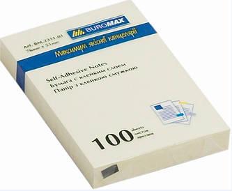 Блок паперу для нотаток клейкий шар Buromax 51х76мм 100л жовтий BM.2311-01