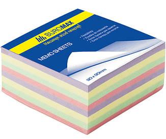 Блок паперу для нотаток проклеєний Buromax 90х90х40мм асорті кольорів BM.2284