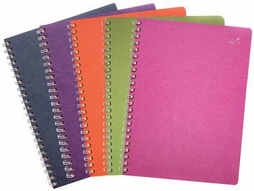 Цветной блокнот с металлической спираллю А5, 80г/м2, 75л, в клетку, 5 цветных секторов, SMILTAINIS
