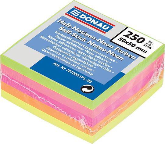 Блок паперу для нотаток клейкий шар Donau 50х50мм 250л асорті кольорів неон 7575001PL, фото 2