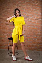 Костюм трикотажный желтый  футболка+лосины