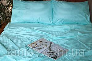 Семейный набор постельного белья из страйп-сатина, 100% хлопок, цвет бирюза