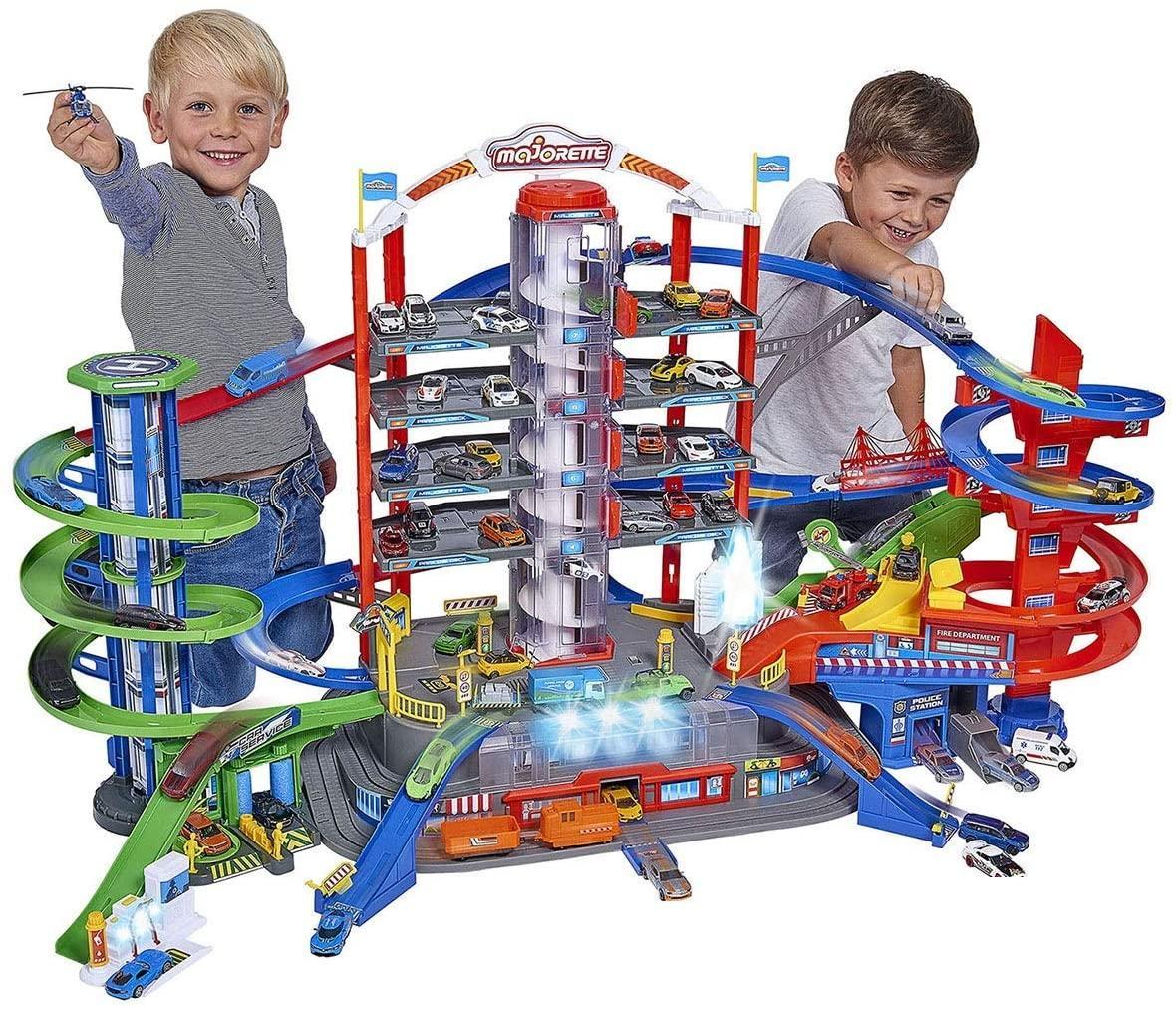 Мега гараж Majorette 2059989 Супер Город 7 уровней 6 металлических машинок