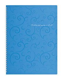 Записна книга коледж-блок А4 Buromax 80 арк. клітка пласт. обл. спіраль блакитний Barocco BM.2446-614