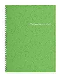 Записна книга коледж-блок А4 Buromax 80 арк. клітка пласт. обл. спіраль салатовий Barocco BM.2446-615