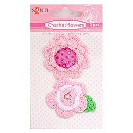 Набір брадсов в'язані квіти рожеві, 2 шт
