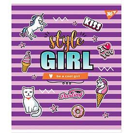 """Зошит для записів А5/18 кл. YES """"STYLE GIRL"""" мат. ВДЛ+софт-тач+глітер"""
