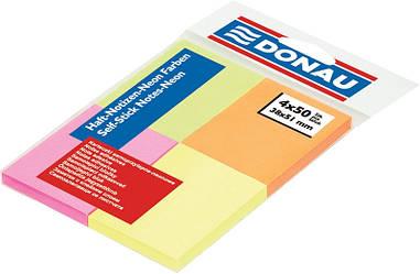 Блок паперу для нотаток клейкий шар Donau 38х51мм неон асорті (4 кольори по 50 л) 200л. (7578001PL)