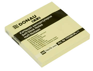Блок паперу для нотаток клейкий шар Donau 76х76 мм жовтий 100л.еко (7593001PL)