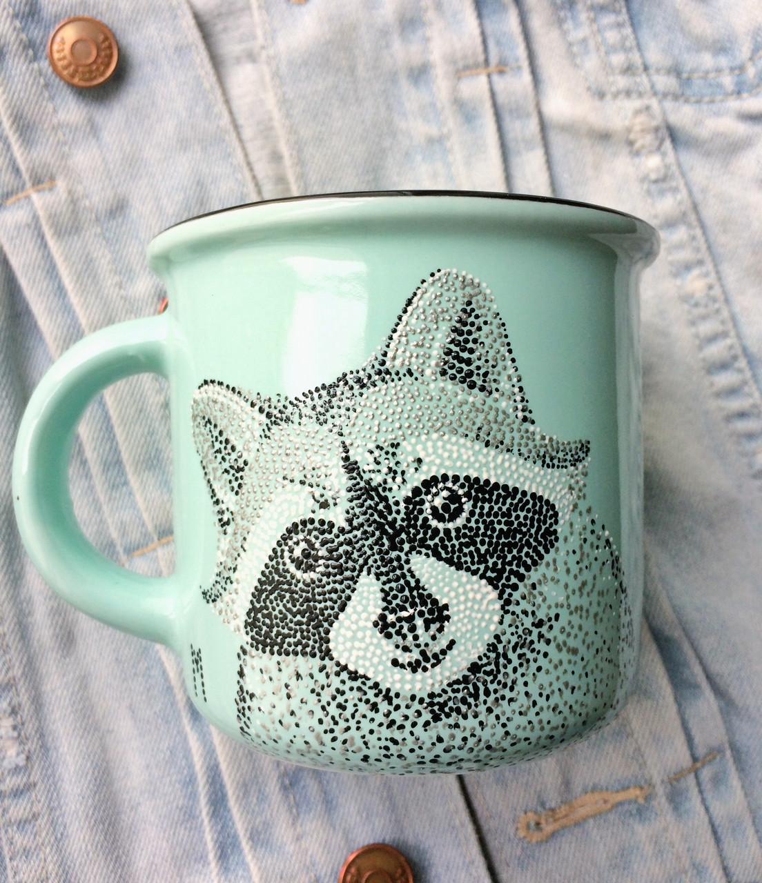 «Енот» Чашка с точечной росписью