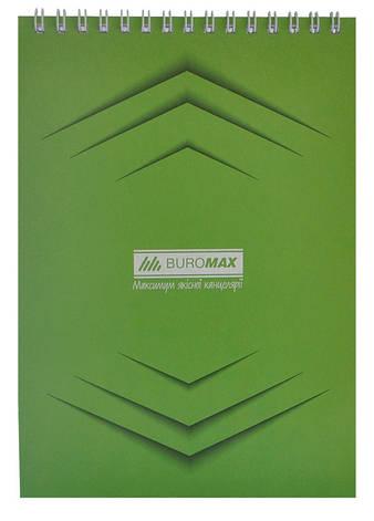 Записная книга блокнот Buromax Jobmax A5 48 л клетка на пружине зеленый (BM.2474-04), фото 2