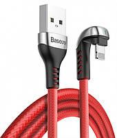 Кабель для зарядки телефона Lightning iphone BASEUS U-shaped Green Lamp Mobile Game 100см |2.4A| Красный