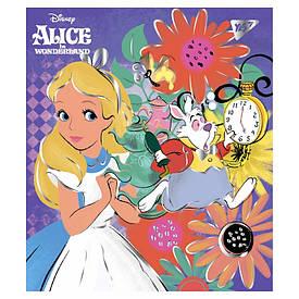 "Зошит для записів А5/18 кл. YES ""Alice in wonderland"" фольга золото+софт-тач"