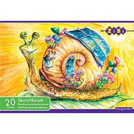 Альбом для малювання ZiBi A4 20л 100г/м2 скоба ZB.1423