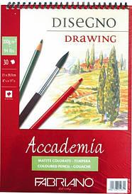 Альбом для малювання Fabriano A4 30л 200г/м2 Accademia дрібне зерно спіраль 8001348150855
