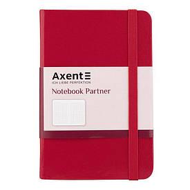Записна книга блокнот Axent 95х140мм 96арк клітка,тв. обл.,червоний Partner 8301-03-A