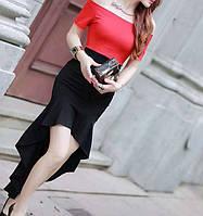 Женское вечернее платье с юбкой полусонце Черно-красное