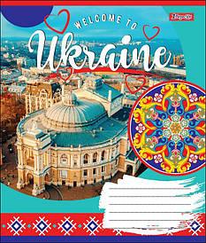 Тетрадь в клетку 36л 1 Вересня WELCOME TO UKRAINE микс 4 обложки (764604)