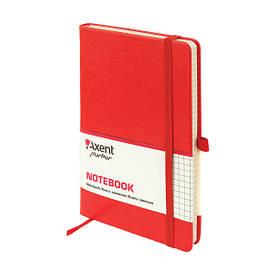 Записна книга блокнот Axent 125х195мм 96арк клітка,тв. обл.,червоний Partner Lux 8202-06-A