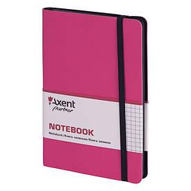 Записна книга блокнот Axent 125х195мм 96арк клітка,тв. обл.,рожевий Partner Soft 8206-10-A