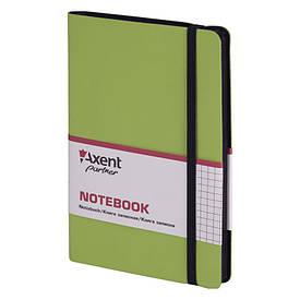 Записна книга блокнот Axent 125х195мм 96арк клітка,тв. обл.,салатовий Partner Soft 8206-09-A