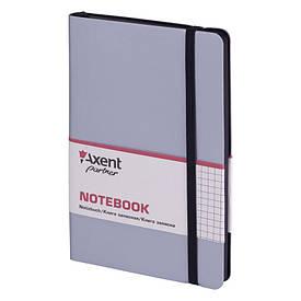 Записна книга блокнот Axent 125х195мм 96арк клітка,тв. обл.,срібний Partner Soft 8206-34-A