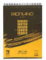 Альбом для эскизов Fabriano А3 100 листов 90г/м2 Schizzi Sketch спираль 8001348169413