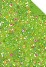 Папір з малюнком А4 Heyda Метелик і пташки 21х29.7см Зелена двуст. 300г/м2 4005329121661