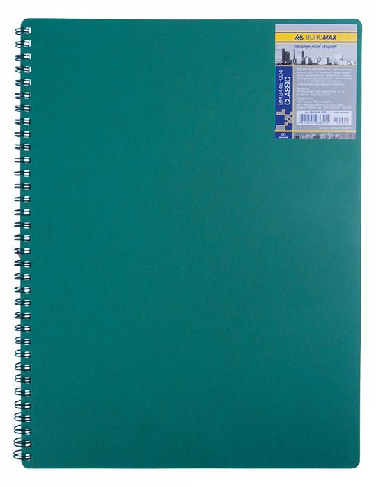 Записная книга блокнот А6 Buromax 80 л. клетка пласт. обл. спираль зеленый CLASSIC BM.2589-004