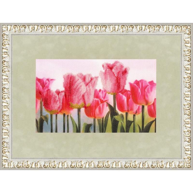 Набір для вишивки хрестом Золоте Руно КН-003 «Рожеві тюльпани»