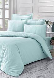 Двухспальный набор постельного белья из страйп-сатина, 100% хлопок, цвет светлая бирюза