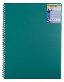 Записна книга коледж-блок А4 Buromax 80 арк. клітка пласт. обл. спіраль зелений CLASSIC BM.2446-004