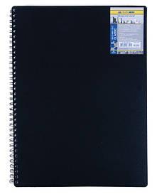 Записна книга блокнот А4 Buromax 80 арк. клітка пласт. обл. спіраль чорний CLASSIC BM.2446-001