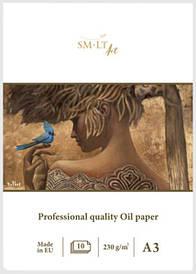 Склейка для масла PRO CREATE А3, 230г/м2, 10л, біла лляна папір, SMILTAINIS