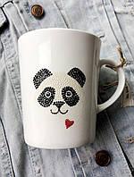 «Пандочка с сердцем» Чашка с точечной росписью.