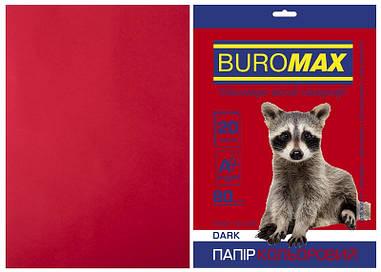 Папір кольоровий А4 Buromax DARK 80гм2 бордовий 20л. (BM.2721420-13)