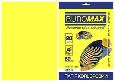 Папір кольоровий А4 Buromax NEON 80гм2 жовтий 20л. (BM.2721520-08)