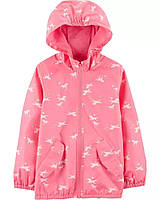 Детская качественная куртка ветровка розового цвета с принтом Картерс для девочки