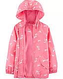 Детская качественная куртка ветровка розового цвета с принтом Картерс для девочки, фото 2