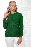 Вязаный батальный женский свитер с фактурой косичек
