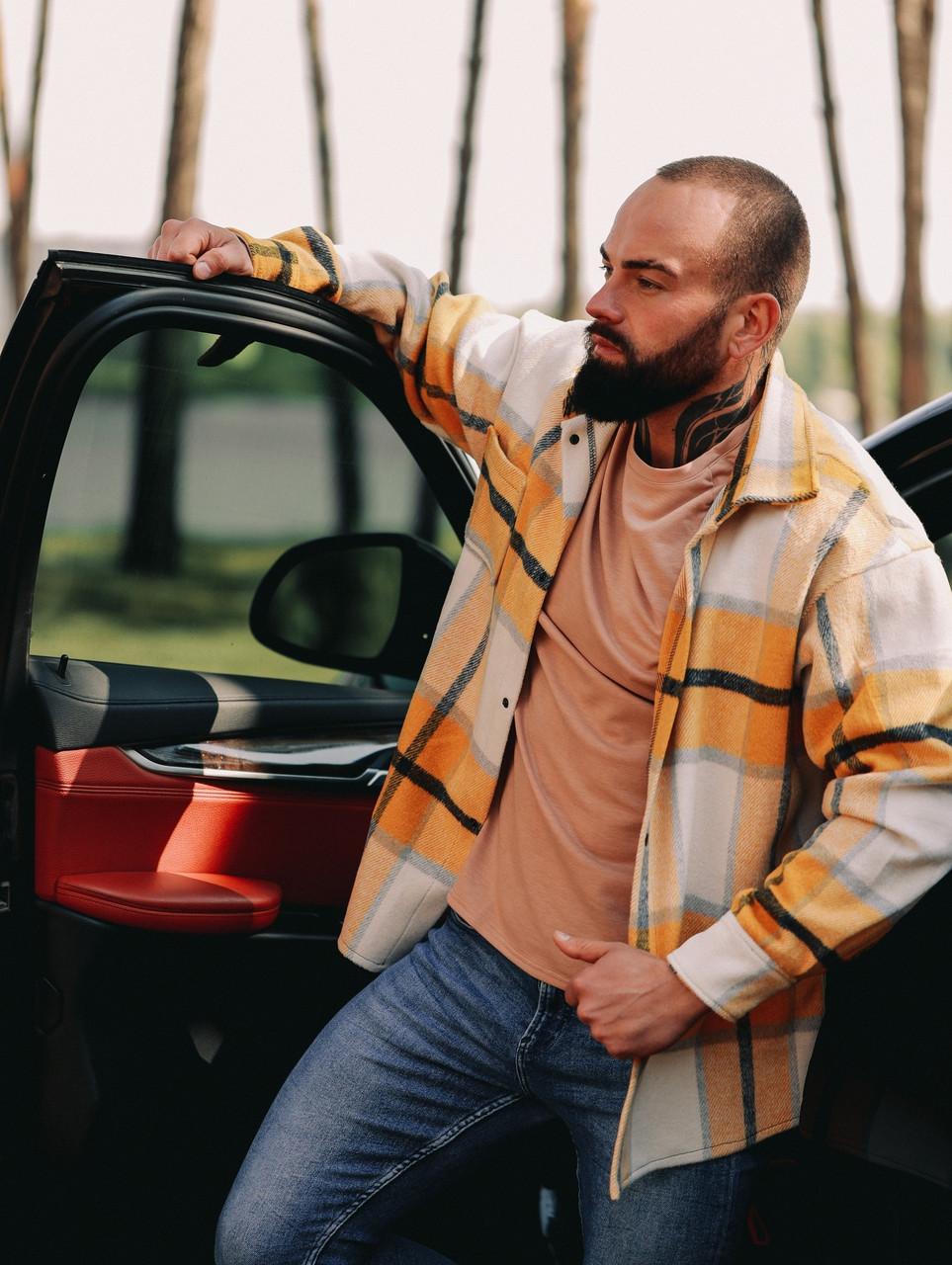 Тёплая Рубашка Оверсайз Светло-желтая
