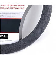Чехол на руль КОЖА S (35-37см) черный Carlife SW232 массаж