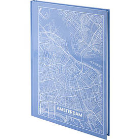 Записна книга блокнот Axent Maps Amsterdam А4 96арк клітина блакитний (8422-507-A)