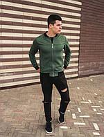 Мужской бомбер замшевый демисезонный зеленый. Куртка мужская весенняя / осенняя зеленого цвета.