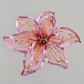 Новогодний декор цветок пуансеттии Yes Fun Роскошь 23x23см полупрозрачный розовый (750310)
