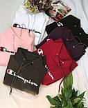 Худи женский теплый на флисе. Цвет: белый, черный, хаки, розовый, марсала, красный. Размер: 42-48., фото 6