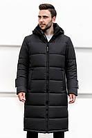 Зимняя куртка пуховик мужская стеганая черного цвета