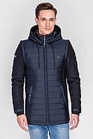 Мужская универсальная теплая осенне-зимняя куртка темно-синего цвета