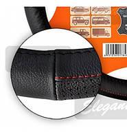 Чехол на руль КОЖА M (37-38см) черный-красная нитка Elegant 105656 прошита красной ниткой