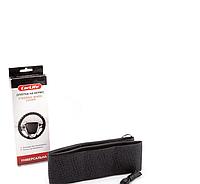 Оплетка на руль бескаркасная Кож.зам L (39-40см) черный на шнурке Carlife SW582L